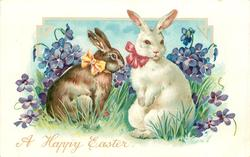 white rabbit with red bow right, brown rabbit yellow bow left, both sit up, violets around