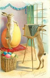 EASTER GREETINGS (two styles) rabbit photographer takes photograph of rabbit posed standing on hind legs next large yellow egg
