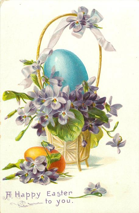 violets in basket with violet bow on tall handle & on ground blue egg eggsin basket, yellow egg on ground