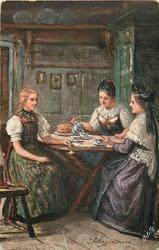 KAFFCESTUDACHEN  three women sit at table taking cottee