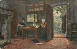 An old couple (on English card)