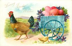 hen pulls blue cart carrying pink Easter eggs & violets left, chick front
