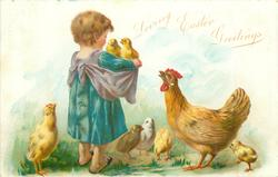 child stands facing away holding two chicks on edge of pinafore, hen dissapproves 5 other chicks on ground