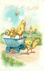 three chicks in fantasy egg, another drives egg-cart pulled by a chick right along road in meadow