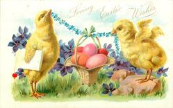 two chicks hold chain of forget-me-nots in their beaks supporting basket of easter eggs, violets around