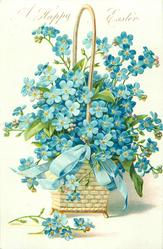 A HAPPY EASTER blue forget-me-nots in platted basket, blue ribbon