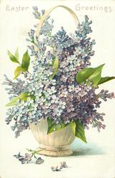 EASTER GREETINGS purple lilac in basket