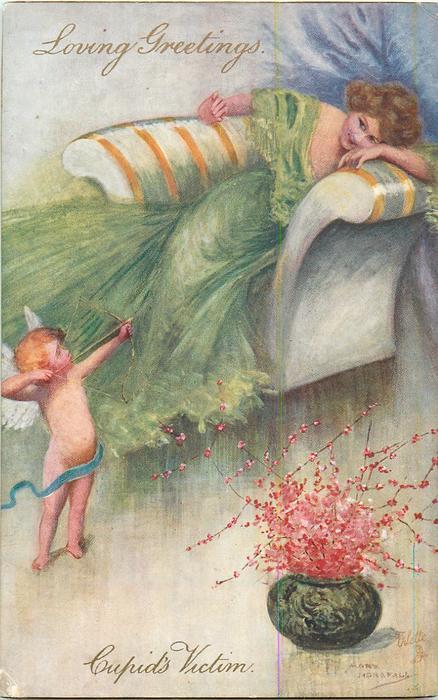 LOVING GREETINGS, CUPID'S VICTIM  cupid prepares to shoot arrow at girl in green dress