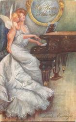 MY HEART IS THINE, LOVE'S MESSAGE  cupid whispers in ear of girl in white playing the piano