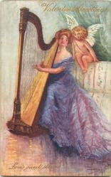 VALENTINE GREETINGS, LOVE' S SWEET STRAINS  cupid whispers to girl in purple playing harp
