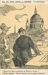 """HERE'S A FINE EXAMPLE OF WREN'S WORK."" ""HOLY SMOKE! THEM DAMES ARE A SMART BUNCH.""  u.s. forces in London, World War II"