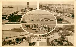 DOUGLAS 5 insets  S.S. KING ORRY PASSING DOUGLAS LIGHTHOUSE/ THE GARDENS/ TOAST RACK/ PROMENADE AND VICTORIA PIER/ PROMENADE AND GARDENS