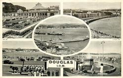 DOUGLAS 5 insets THE VILLA MARINA/ LOCH PROMENADE/ THE HARBOUR /TOAST RACK/ THE FOUNTAINS