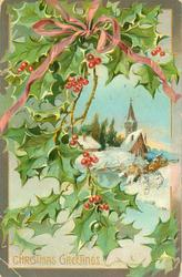 CHRISTMAS GREETINGS holly left, pink bow, vignette snow scene stream in front of church right
