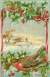 MERRY CHRISTMAS GREETINGS holly above & below inset of snowy rural scene, pink ribbons, robin below eating berry