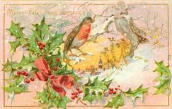 MERRY CHRISTMAS GREETINGS holly & red bow left, robin in centre, snowy rural inset right