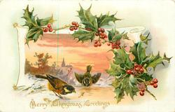 MERRY CHRISTMAS GREETINGS holly above & right of snowy rural inset , two chaffinches