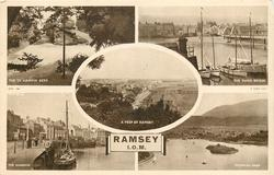 RAMSEY I.O.M., 5 insets  THE T.T HAIRPIN BEND/THE SWING BRIDGE/A PEEP AT RAMSEY/THE HARBOUR/MOORAGH PARK