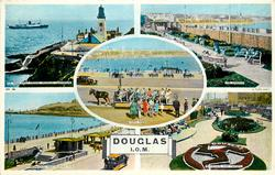 DOUGLAS, I.O.M. 5 insets  S.S. KING ORRY PASSING DOUGLAS LIGHTHOUSE/ THE GARDENS/ TOAST RACK/ PROMENADE AND VICTORIA PIER/ PROMENADE AND GARDENS