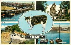 ISLE OF MAN 5 insets  PEEL FROM THE CASTLE/ THE BIG WHEEL, LAXEY/ manx cat/ MANX COTTAGES, NIARBYL/ RAMSEY HARBOUR