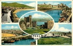 PEEL, I.O.M. 5 insets, THE BAY/ PEEL CASTLE/ PEEL CASTLE/ PEEL FROM THE CASTLE/ PEEL CASTLE