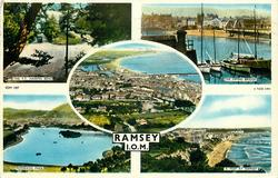 RAMSEY, I.O.M. 5 insets THE T.T. HAIRPIN BEND/ THE SWING BRIDGE/ birds-eye view/ MOORAGH PARK/ A PEEP AT RAMSEY