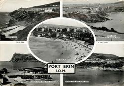 PORT ERIN, I.O.M.  5 insets  BRADDA HEAD/ PORT ERIN FROM BRADDA HEAD/ THE BEACH/ BRADDA HEAD AND THE HARBOUR/ ACROSS THE BAY, PORT ERIN