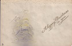 St. George on horseback killing the dragon, acorns & oak leaves across top, grey background