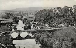 LUDLOW CASTLE AND DINHAM BRIDGE FROM WHITCLIFF