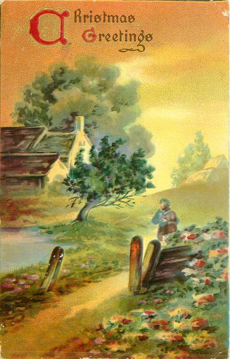 CHRISTMAS GREETINGS card title illuminated person walks front along path towards two gate posts, farm buildings left, summer flowers & trees