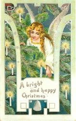 A BRIGHT AND HAPPY CHRISTMAS angel in white among lighted candles on Christmas tree