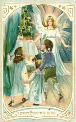 A HAPPY CHRISTMAS TO YOU angel watches as three children admire xmas tree