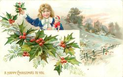A HAPPY CHRISTMAS TO YOU girl holds doll whilst holding up sprig of holly, church & field back right
