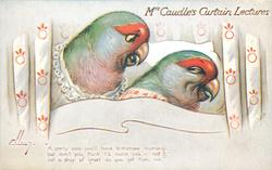 "parakeets (red, green) ""A PRETTY COLD YOU'LL HAVE TO-MORROW MORNING; BUT DON'T YOU THINK I'LL NURSE YOU-NOT I; NOT A DROP OF GRUEL DO YOU GET FROM ME."""
