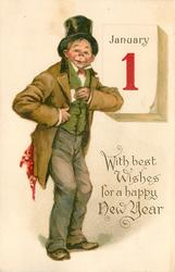 WITH BEST WISHES FOR A HAPPY NEW YEAR  man wearing top-hat pulls card from coat pocket in front of calendar JANUARY 1  image#
