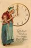 WITH BEST WISHES FOR A HAPPY NEW YEAR  woman reads valentine in front of clock  image##