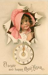 A BRIGHT AND HAPPY NEW YEAR  girl in pink bonnet breaks through paper above clock  image****