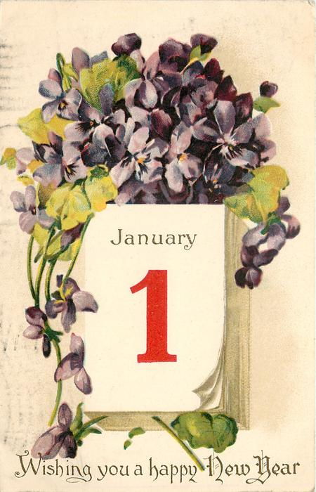 WISHING YOU A HAPPY NEW YEAR   violets above calendar JANUARY 1