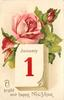 A BRIGHT AND HAPPY NEW YEAR  pink rose open and two buds above calendar with JANUARY 1  image*