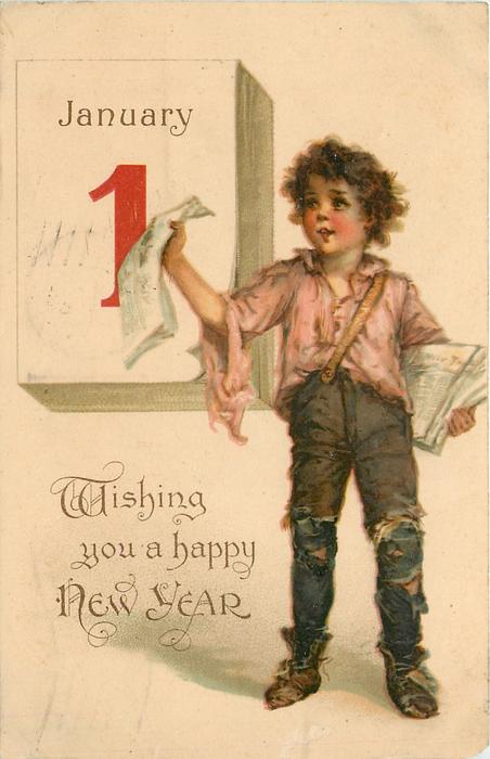 WISHING YOU A HAPPY NEW YEAR  boy sells papers in front of calendar  image**