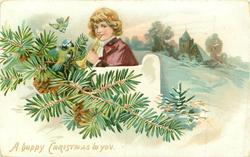 A HAPPY CHRISTMAS TO YOU boy in purple cloak plays bugle behind white gate, two blue-tits & conifer left, church back right