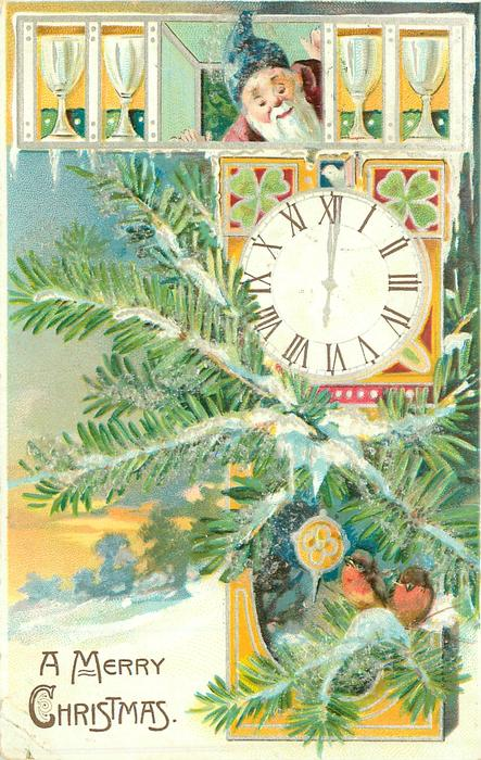 A MERRY CHRISTMAS evergreen & 2 robins in front of clock right, face & four mugs above