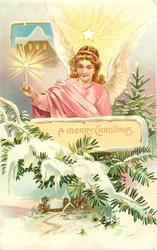 A MERRY CHRISTMAS star above angel holding lighted candle, evergreen & snowy landscape below