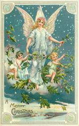 A MERRY CHRISTMAS star above flying angel between 2 small angels on a cloud with evergreen, many stars behind