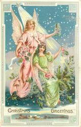 CHRISTMAS GREETINGS star above two angels on cloud with evergreen, holding flowers, many stars above & behind