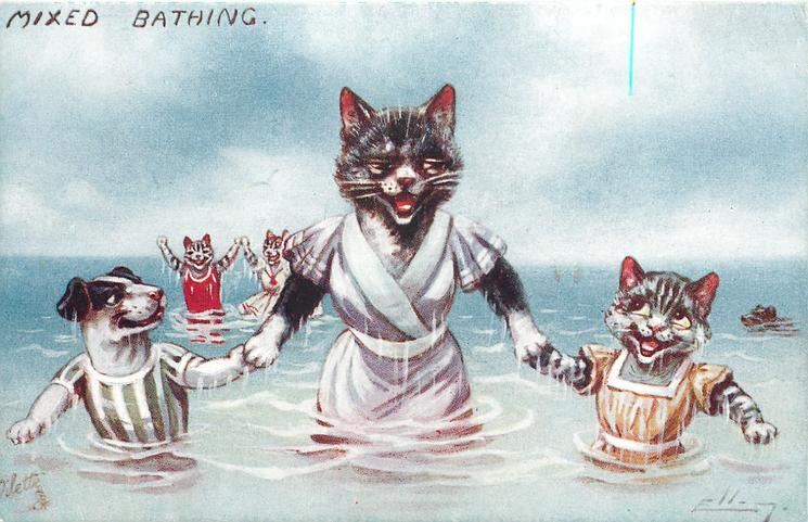 mother cat holding puppy and kitten by paws, all in sea