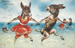 two donkeys holding hooves, running out to sea