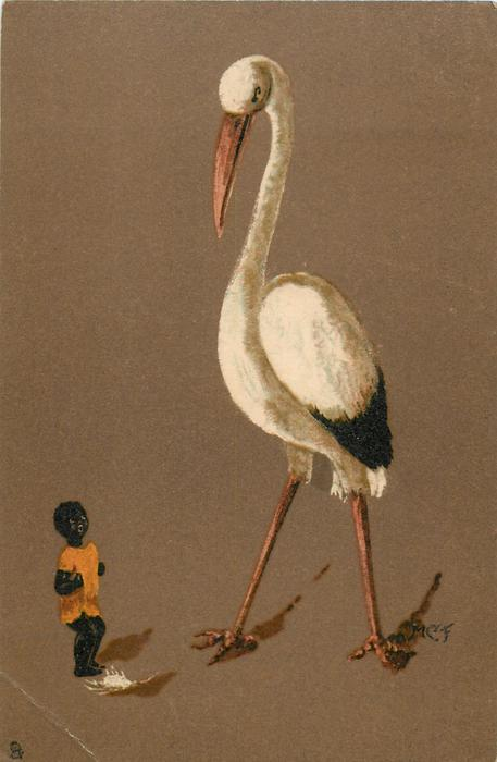 large stork, small black child in orange stands below