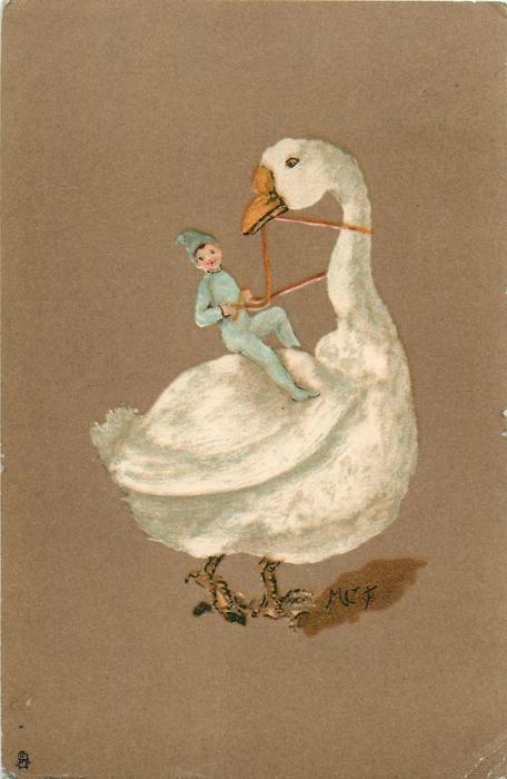 manniken in blue riding large white goose facing right looking back