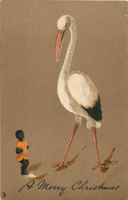 A MERRY CHRISTMAS  large stork, small black child in orange